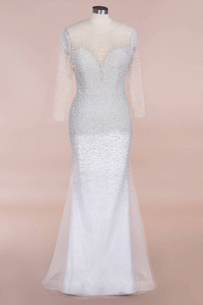 Precious Long Sleeve Beading Sheath Wedding Dress_14