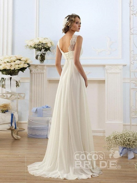 Honorable Sleeveless Lace-up Empire Chiffon Wedding Dresses_2
