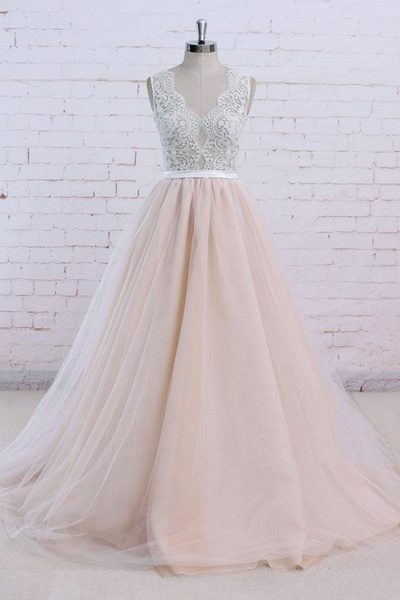 Blush Pink Tulle Ivory Lace V Neck Vintage Wedding Dress_1