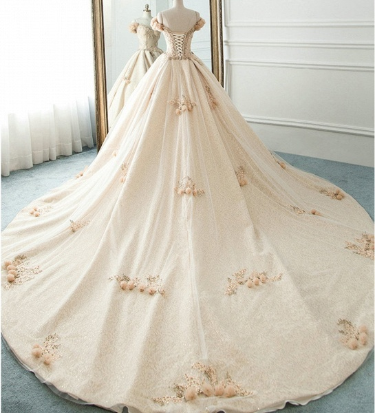 Princess Champagne Lace Off Shoulder Court Train Beaded Wedding Dress_4
