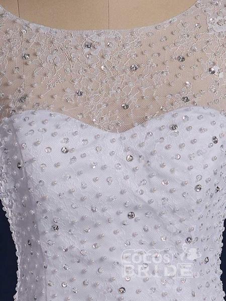 Gorgeous Sleeveless Covered Button Mermaid Wedding Dresses_5