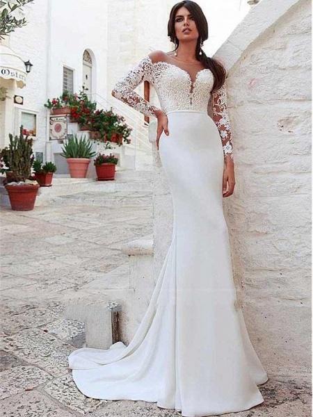 Amazing Scoop Long Sleeves Mermaid Lace Wedding Dress_1