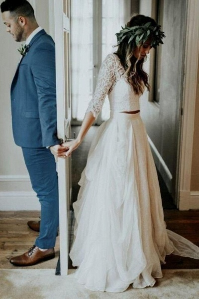 Ivory Chiffon Rustic Cheap 3/4 Sleeves Two Piece Wedding Dress_1