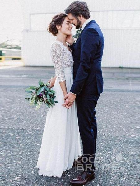 Romantic V Neck Chiffon Lace A Line Wedding Dresses_3