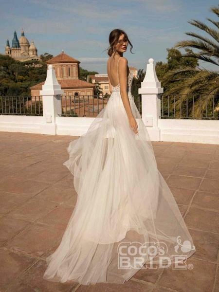 Spaghetti Straps Backless Tulle Wedding Dresses_2