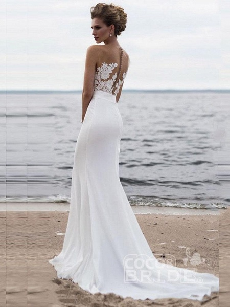 Elegant Appliques Lace Mermaid Wedding Dresses_2