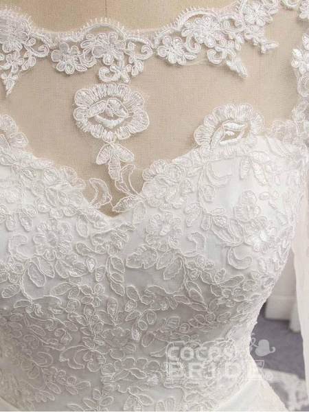 Gorgeous Long Sleeves Lace Ribbon Tulle Wedding Dresses_5