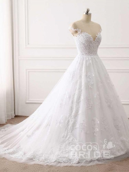 Lace Appliques Ball Gown Wedding Dresses_2