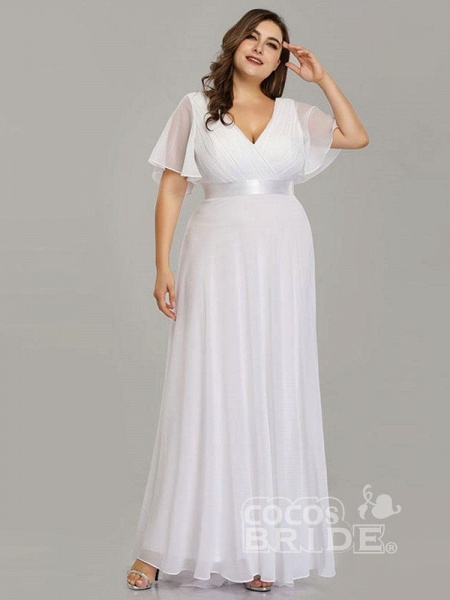Empire Waist V-neck Half-Sleeves Ruffles Wedding Dresses_2