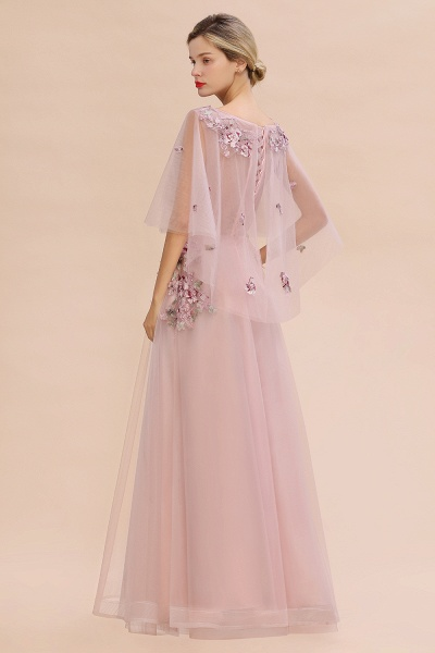 Dusty Pink Tulle Short Sleeve Long Prom Dress_11