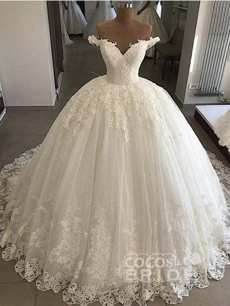 V-Neck Lace Sequins Ball Gown Wedding Dresses_4