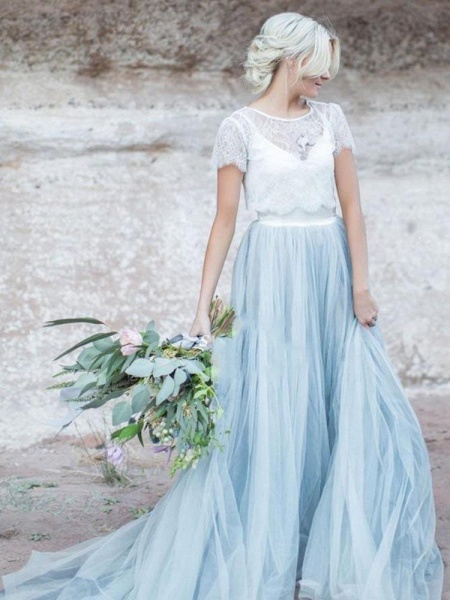 Romantic Short Sleeves Sweep Train Tulle Wedding Dresses_1
