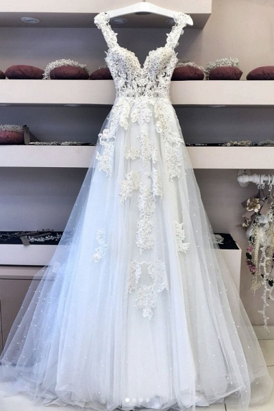 White Tulle Sweetheart Neck Long Halter Lace Wedding Dress_1