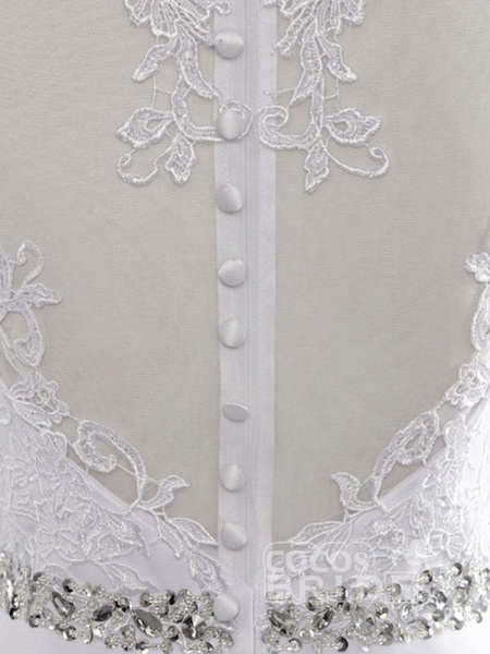 Cheap Jewel Lace A-Line Wedding Dresses_8