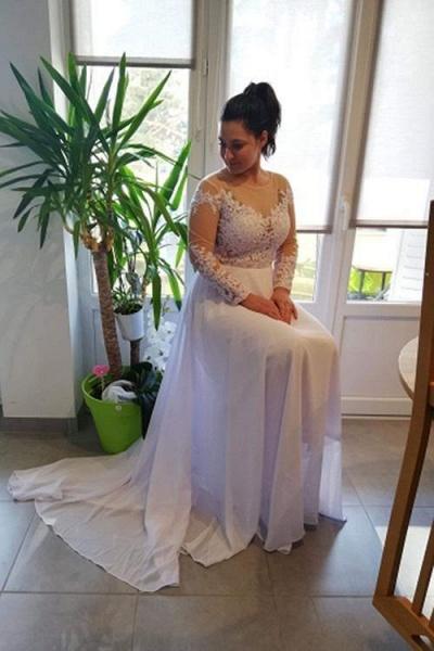 Modest Long Sleeves Lace A-Line Ruffles Wedding Dresses_1