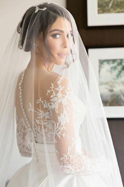 Romantic Lace Satin Skirt with Long Sleeves Illusion Back Wedding Dress_2