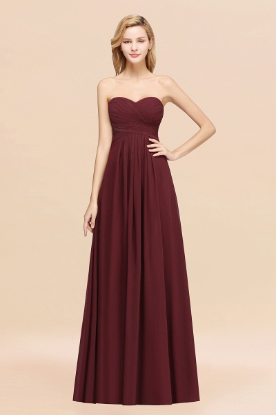 A-line Chiffon Sweetheart Strapless Ruffles Floor-length Bridesmaid Dress_10