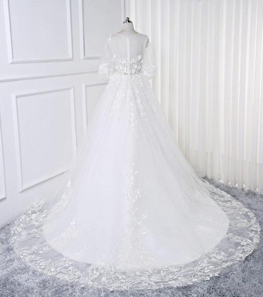 White Lace Flowers Half Sleeves Bridal Wedding Dress_2