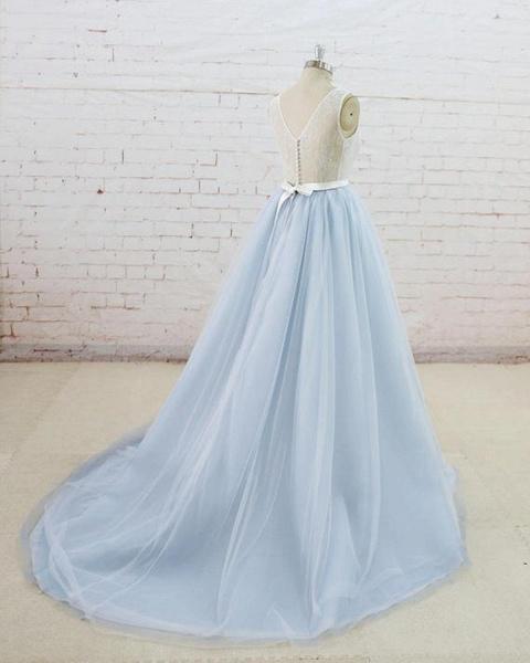 Light Blue Tulle Sheer Back Summer Lace Wedding Dress_3