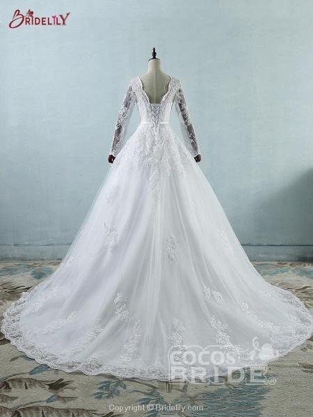 Elegant Long Sleeves Corset lace up Wedding Dresses_3