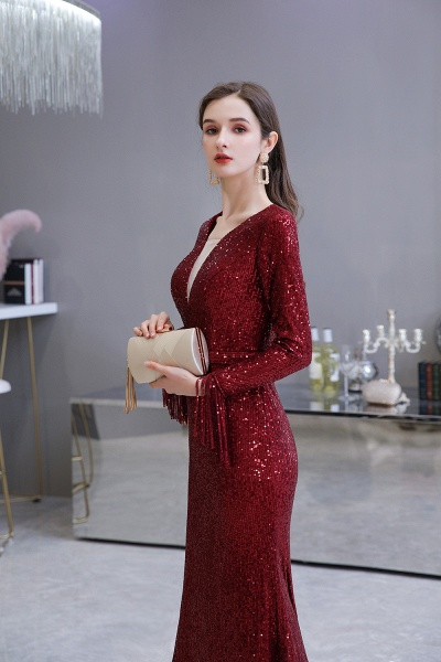 Gorgeous Sequins Long Sleeve V-Neck Mermaid Evening Gowns_17