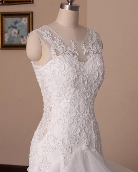 White Lace Ruffled Long Corset Bridal Mermaid Wedding Dress_4