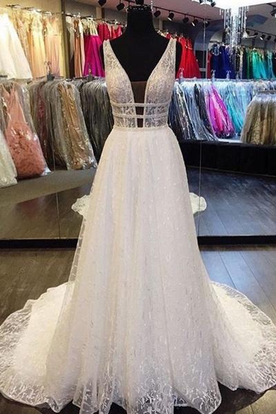 White Lace Deep V Neck Long Halter Wedding Dress_1