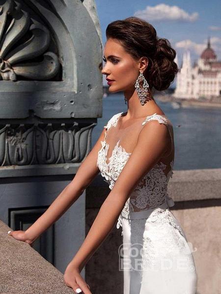 Popular Appliques Sweep Train Mermaid Wedding Dresses_5