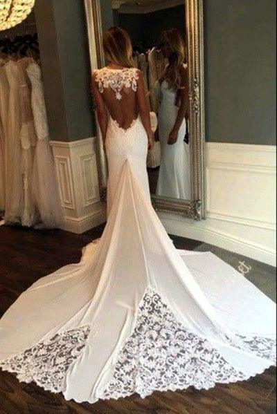 Mermaid Sexy Sheer Neck with Lace Unique Ivory Wedding Dress_4
