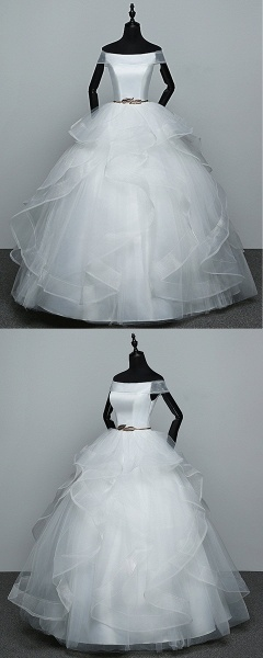 White Tulle Off Shoulder Layered Wedding Dress With Belt_4