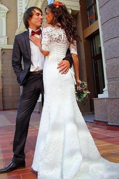Mermaid Off-the-Shoulder Half Sleeves Lace Vintage Trumpet Wedding Dress_1
