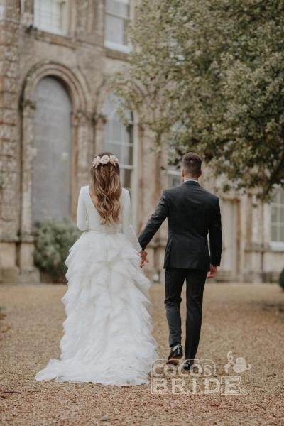 A-Line Sweep Train Tulle Long Sleeves Beach Wedding Dress_8