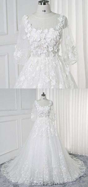 White Lace Flowers Half Sleeves Bridal Wedding Dress_4