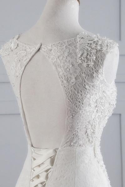 Glamorous Long Mermaid Jewel Tulle Sleeveless Wedding Dress with Appliques Lace_6