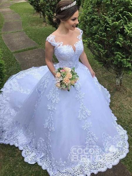 Exquisite Scoop Short Sleeve Zipper Lace Wedding Dresses_3