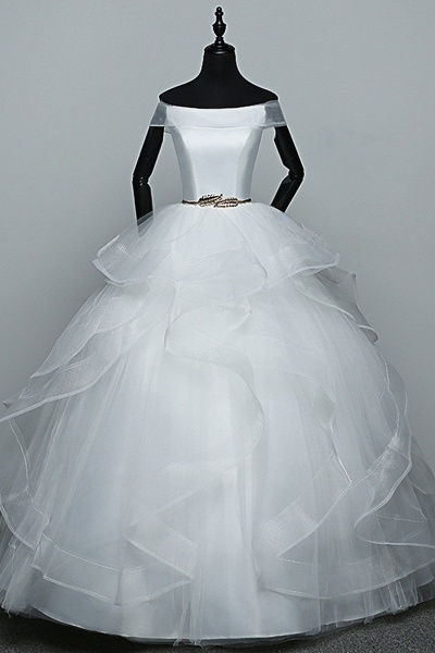 White Tulle Off Shoulder Layered Wedding Dress With Belt_1