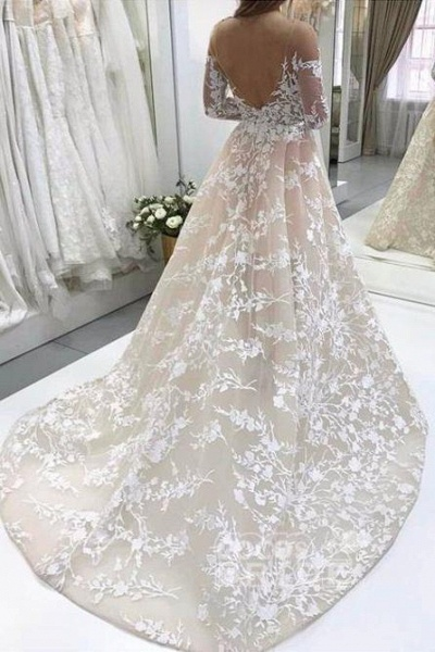 A Line Lace Tulle Open Back Long Sleeves Wedding Dress_2