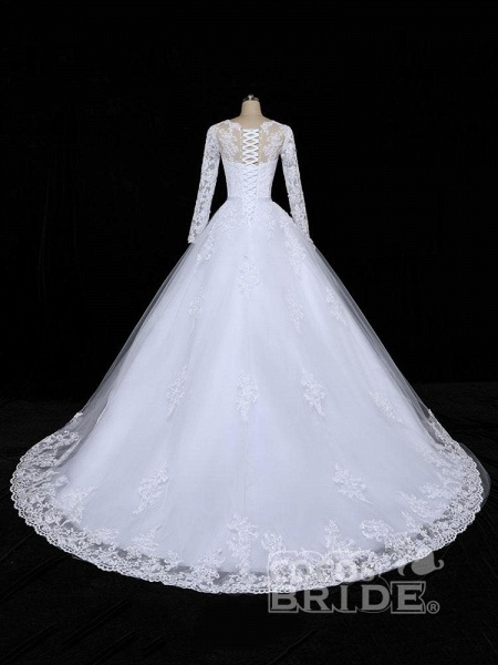 Glamorous Long Sleeves Lace Applique Tulle Wedding Dresses_3