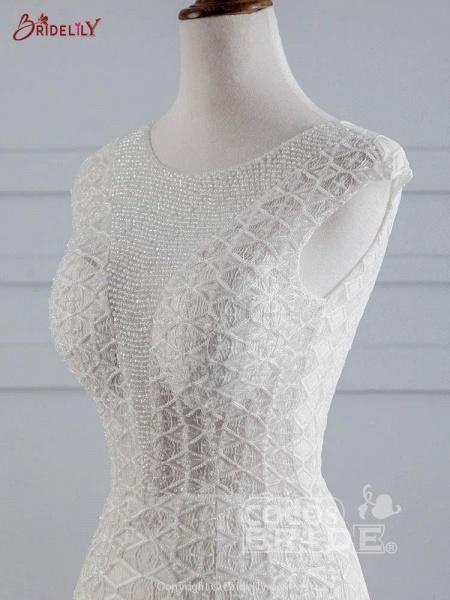 Elegant Cap Sleeves Lace-up Mermaid Wedding Dresses_5