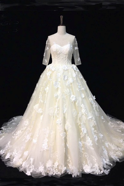 Beautiful Ivory Lace Sweep Train Mid Sleeves Wedding Dresses_1