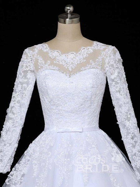 Glamorous Long Sleeves Lace Applique Tulle Wedding Dresses_5