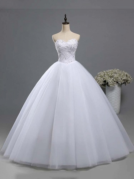 Gorgeous Sweetheart Beaded Tulle Ball Gown Wedding Dresses_1