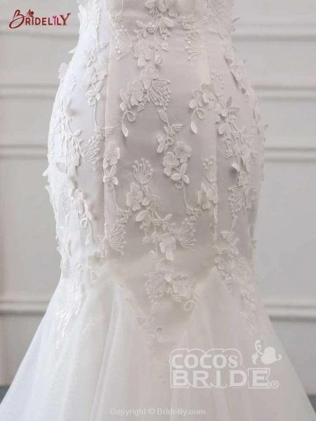 New Style Flower Lace Mermaid Ruffles Wedding Dresses_6