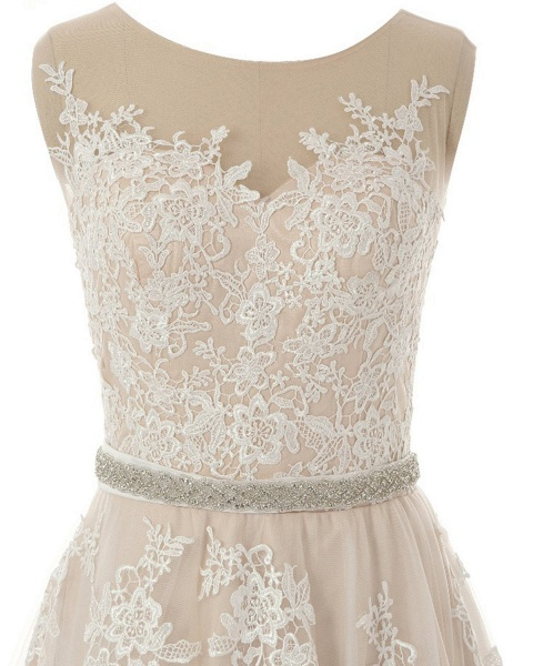 Creamy Tulle Round Neck White Lace Applique Long Wedding Dress_4