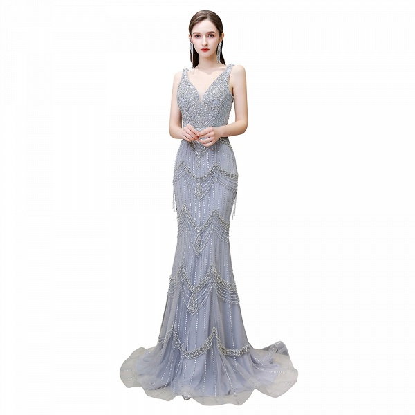 Gorgeous Silver Feather Cape Mermaid Sparkle Prom Dresses_8