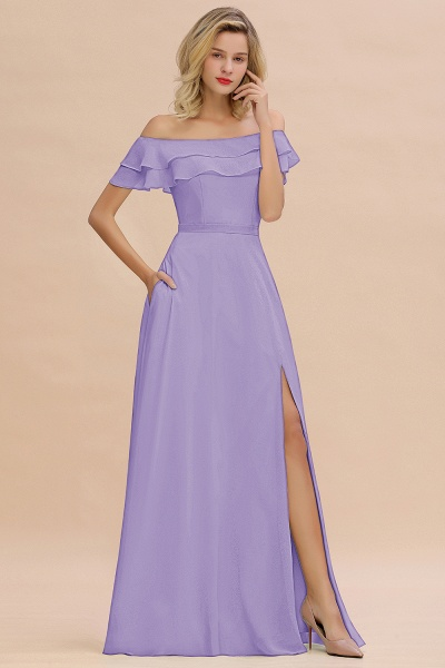 BM0775 Off-the-Shoulder Front Slit Mint Green Long Bridesmaid Dress_21