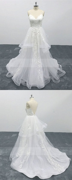 White Lace Layered A Line Thin Straps Fairytale Wedding Dress_4