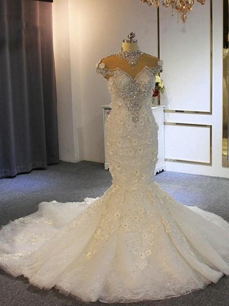 luxury Full Beading Lace-Up Mermaid Wedding Dresses_1