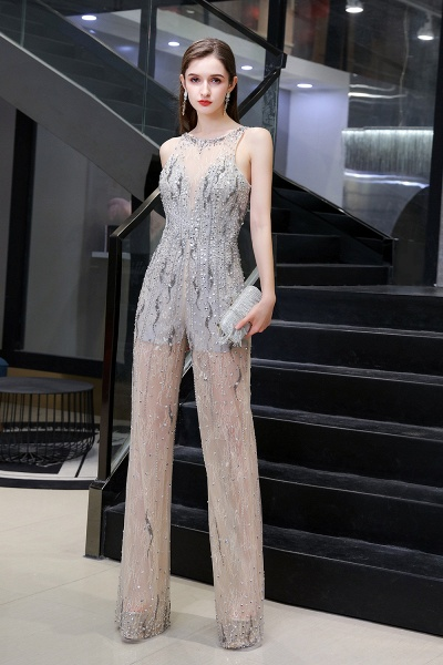 Jewel Sleeveless Tulle Evening Jumpsuit with Sequins_3