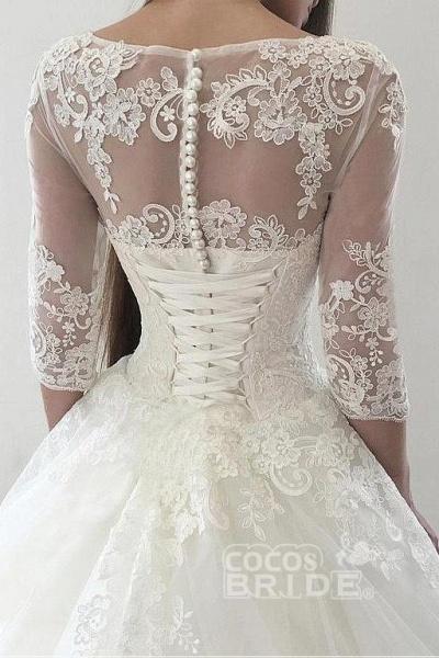 Ivory Puffy Half Sleeves Long Vintage Tulle Bateau Appliques Wedding Dress_4